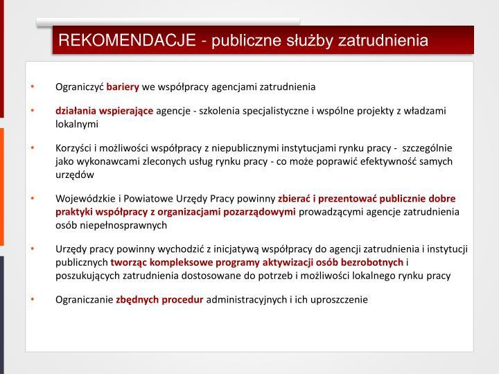 REKOMENDACJE - publiczne służby zatrudnienia