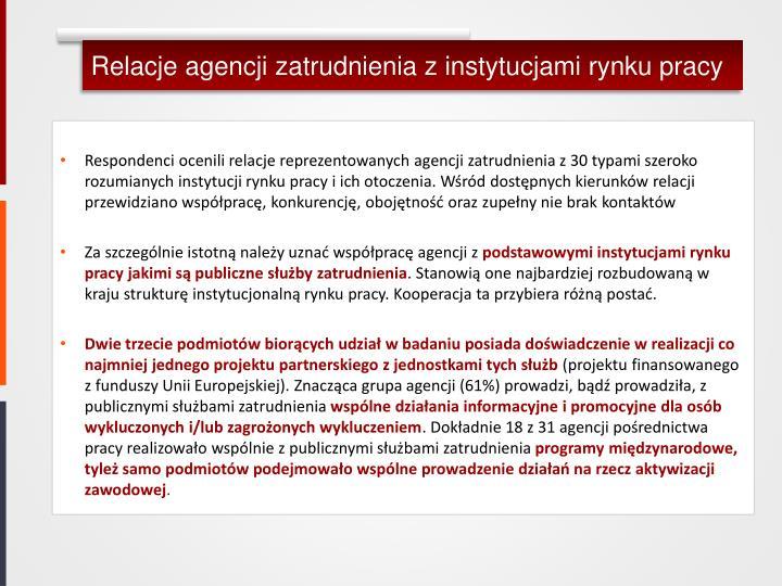 Relacje agencji zatrudnienia z instytucjami rynku pracy
