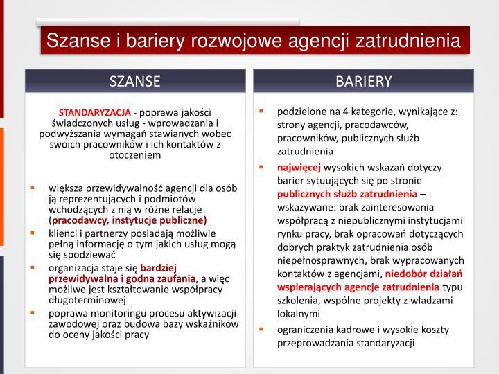 Szanse i bariery rozwojowe agencji