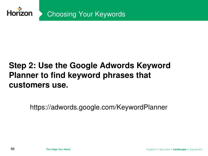 Choosing Your Keywords