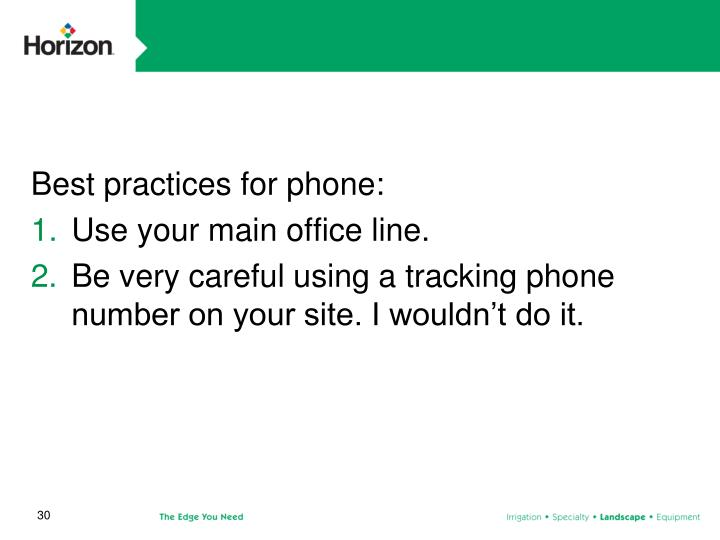 Best practices for phone: