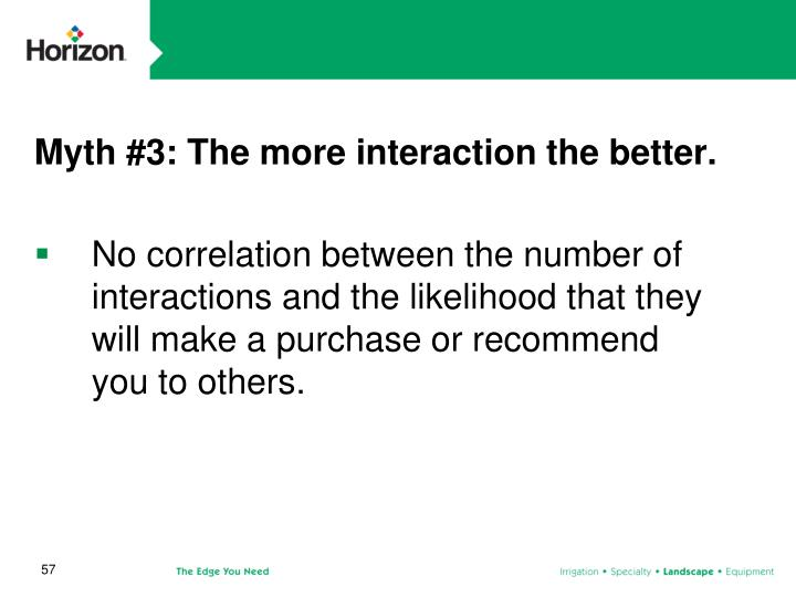 Myth #3: The more interaction the better.