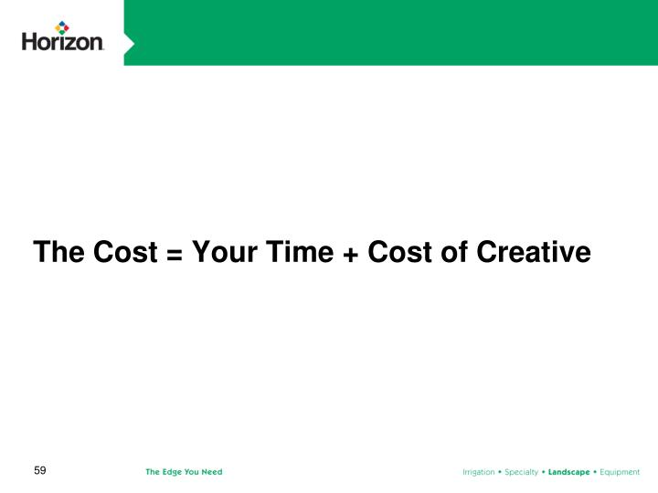 The Cost = Your Time + Cost of Creative