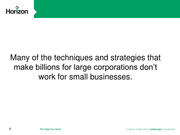 Many of the techniques and strategies that make billions for large corporations don't work for small businesses.