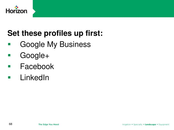 Set these profiles up first: