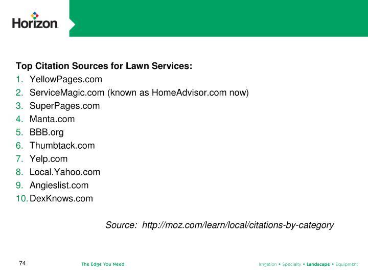 Top Citation Sources for Lawn Services: