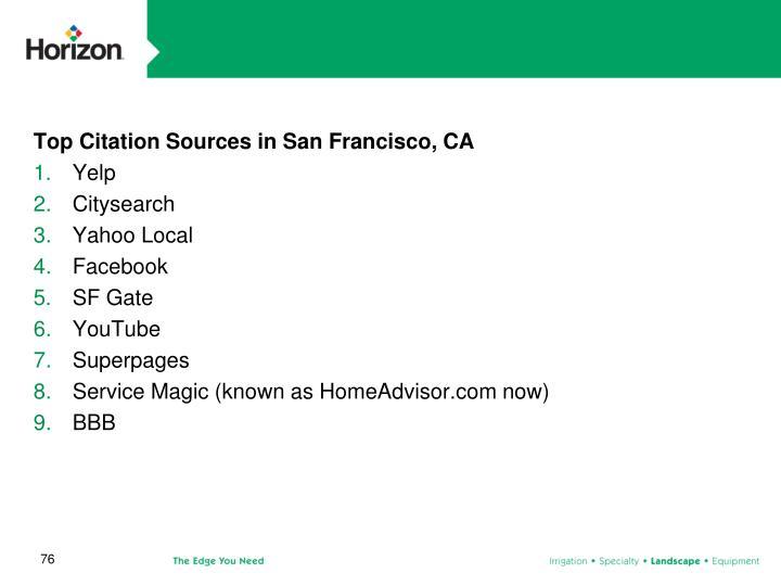 Top Citation Sources in San Francisco, CA