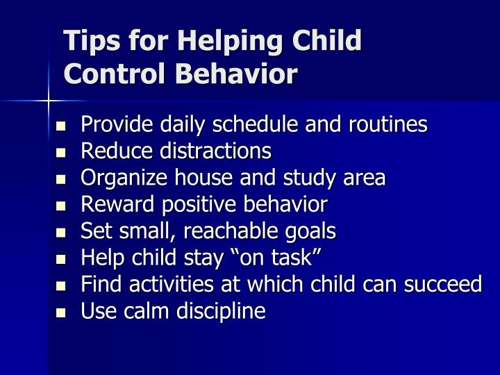Tips for Helping Child Control Behavior