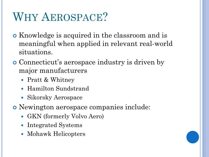 Why Aerospace?