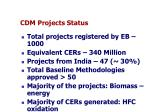 cdm projects status