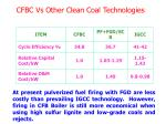 cfbc vs other clean coal technologies