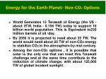energy for the earth planet non co 2 options