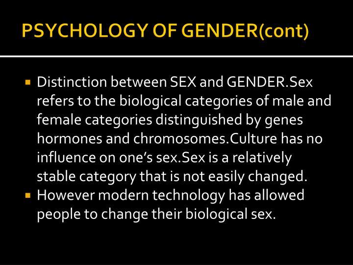 PSYCHOLOGY OF GENDER(cont)