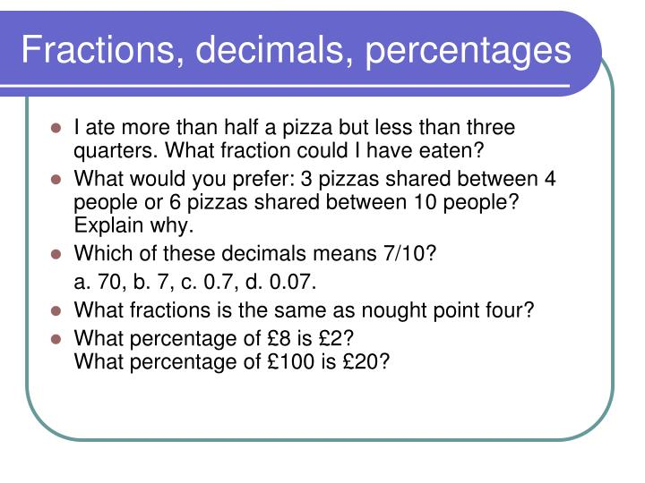 Fractions, decimals, percentages
