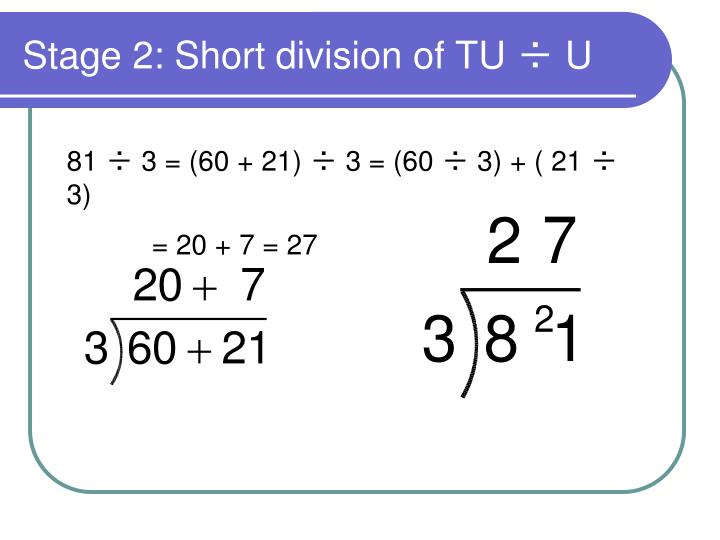 Stage 2: Short division of TU ÷ U
