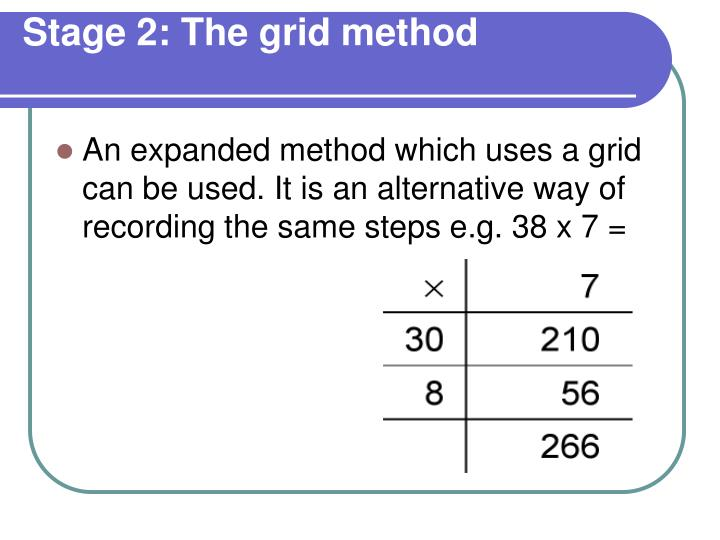 Stage 2: The grid method