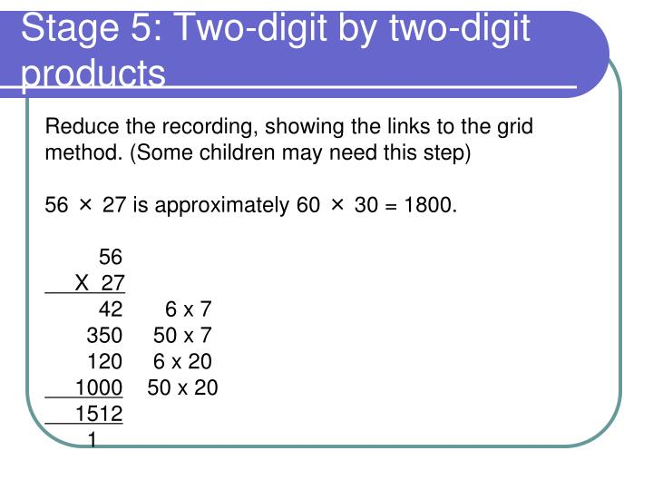Stage 5: Two-digit by two-digit products