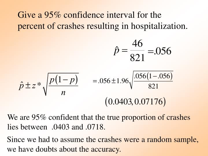 Give a 95% confidence interval for the percent of crashes resulting in hospitalization.