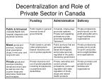 decentralization and role of private sector in canada