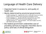 language of health care delivery