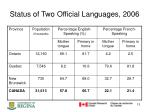 status of two official languages 2006