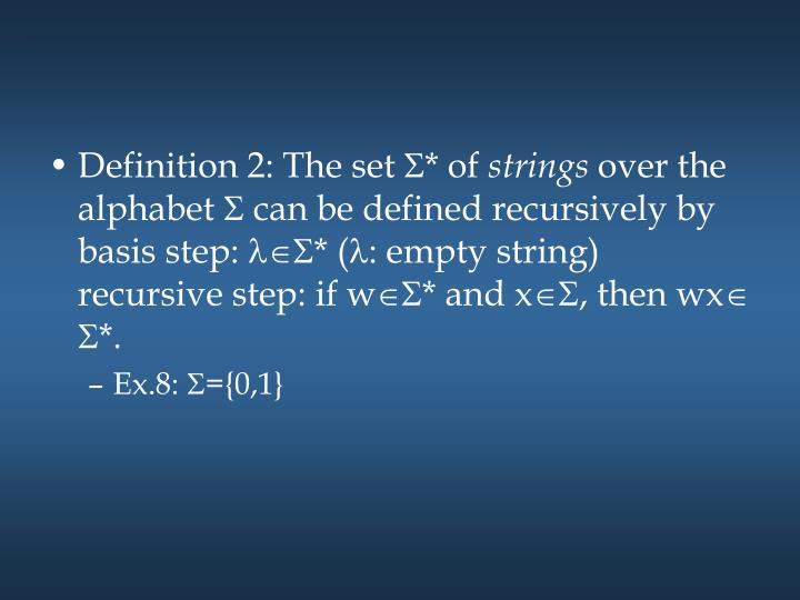 Definition 2: The set