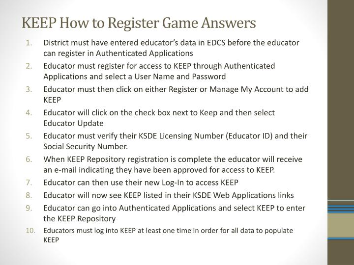 KEEP How to Register Game Answers
