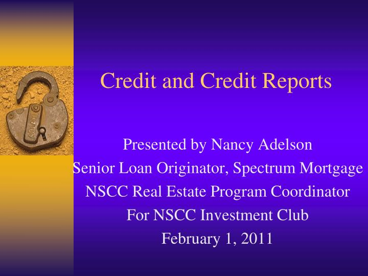 credit and credit reports n.