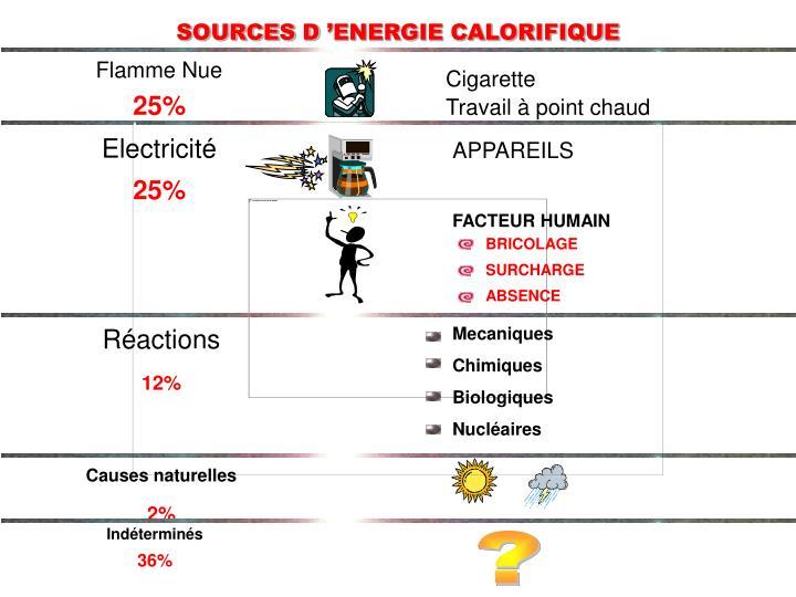 SOURCES D'ENERGIE CALORIFIQUE