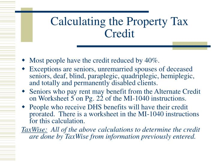 Calculating the Property Tax Credit