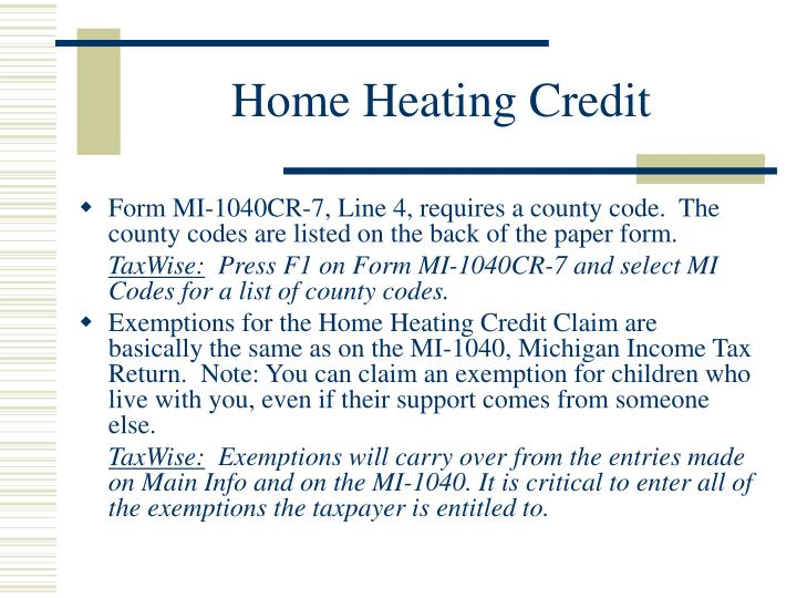 Home Heating Credit