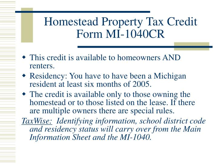 Homestead Property Tax Credit