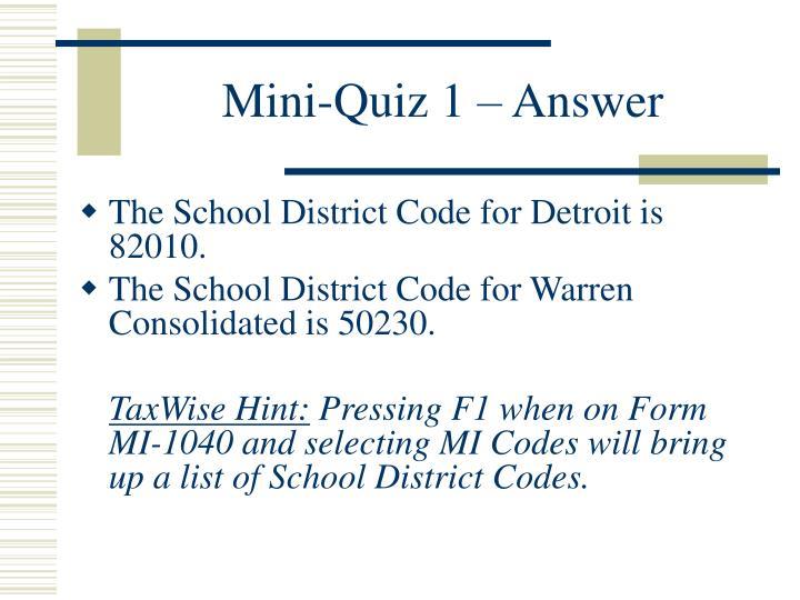 Mini-Quiz 1 – Answer