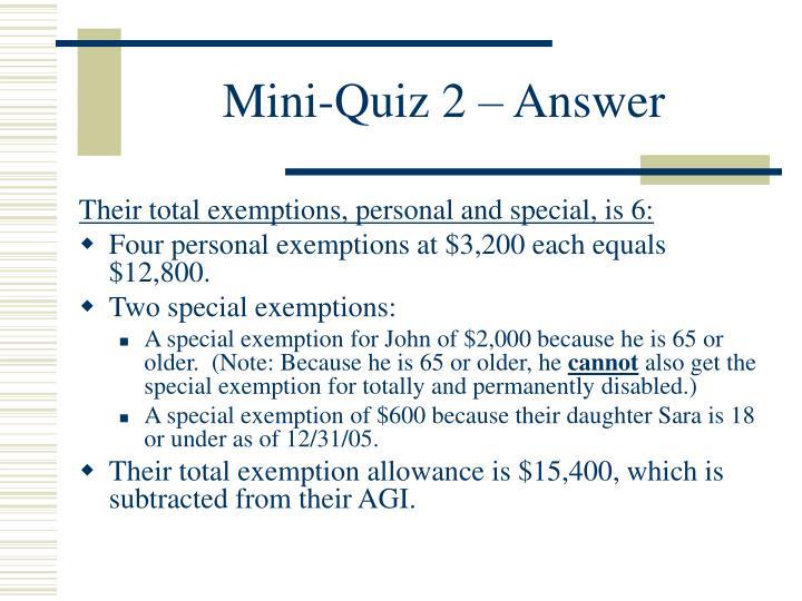 Mini-Quiz 2 – Answer