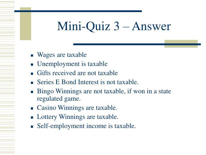 Mini-Quiz 3 – Answer