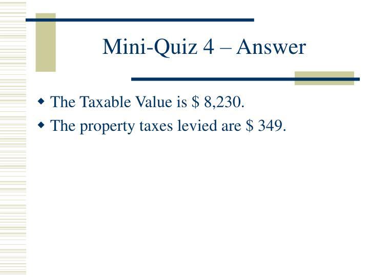 Mini-Quiz 4 – Answer