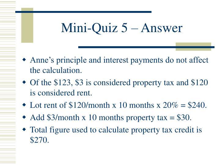Mini-Quiz 5 – Answer