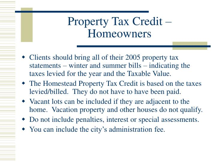 Property Tax Credit – Homeowners