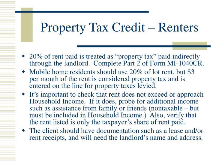 Property Tax Credit – Renters