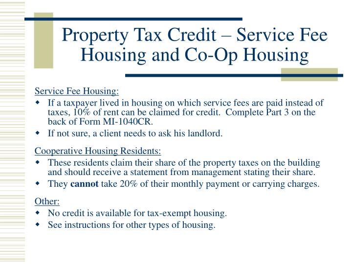 Property Tax Credit – Service Fee Housing and Co-Op Housing