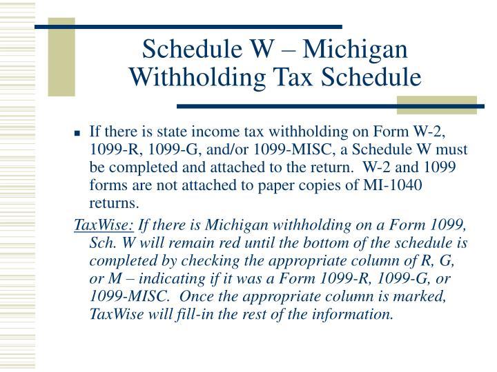 Schedule W – Michigan Withholding Tax Schedule