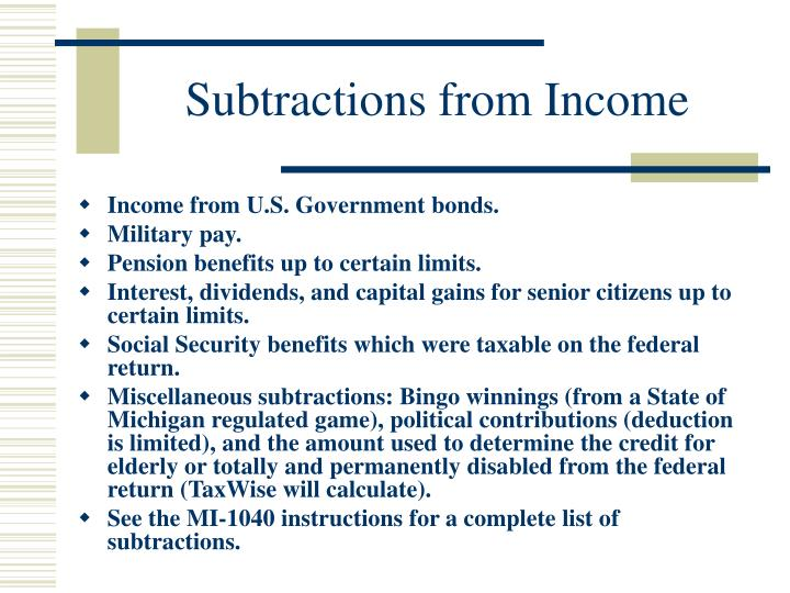 Subtractions from Income