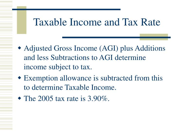 Taxable Income and Tax Rate