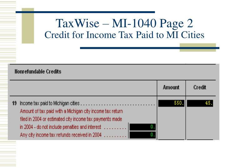 TaxWise – MI-1040 Page 2