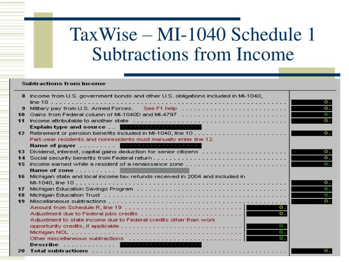 TaxWise – MI-1040 Schedule 1 Subtractions from Income