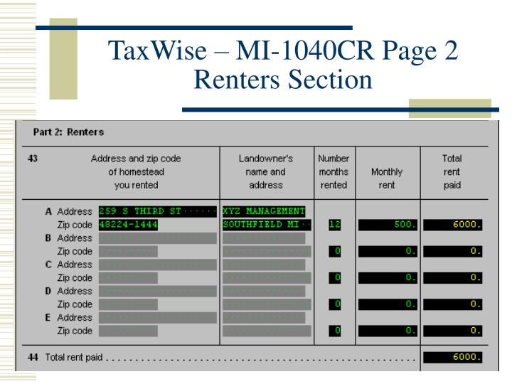 TaxWise – MI-1040CR Page 2