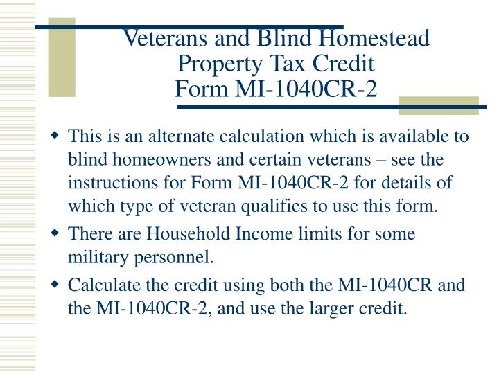 Veterans and Blind Homestead Property Tax Credit