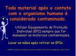 todo material ap s o contato com o organismo humano considerado contaminado