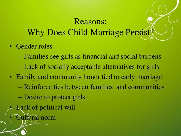 Reasons: