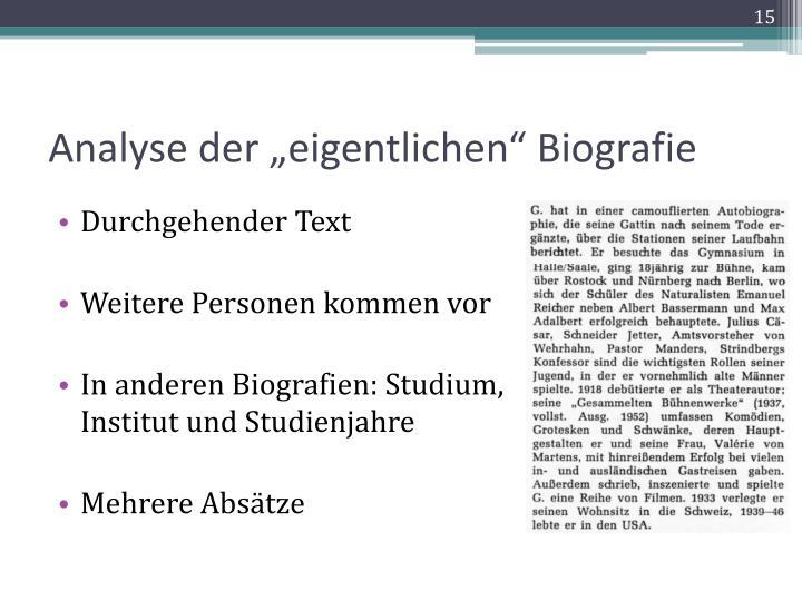 """Analyse der """"eigentlichen"""" Biografie"""